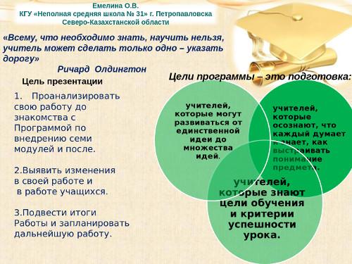 Презентация «Изменения в практике преподавания после внедрения модулей Программы»