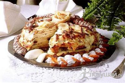 Казахский пирог из блинчиков